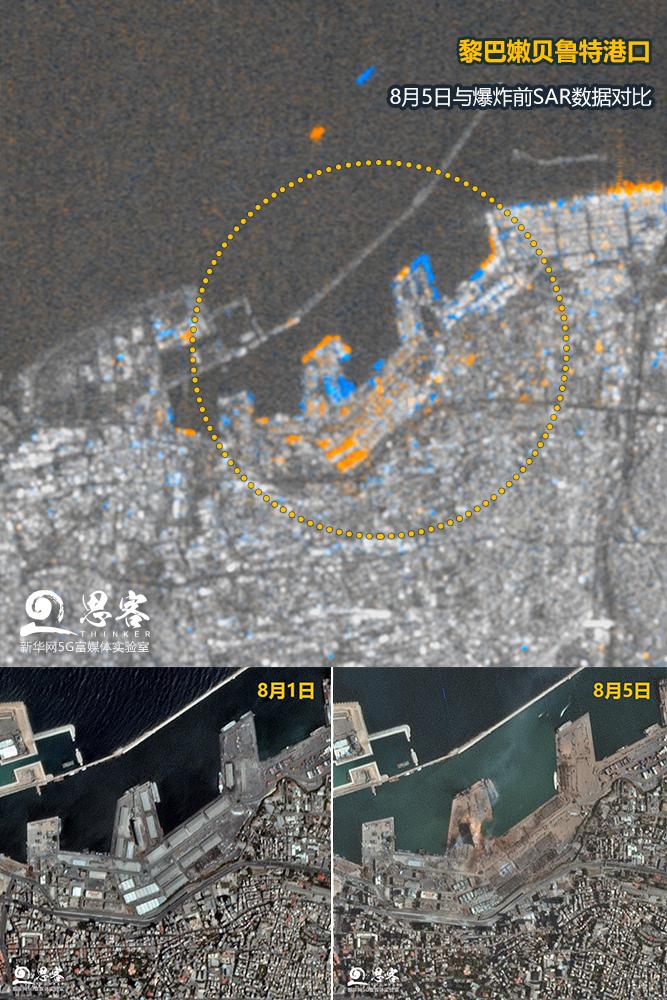 ▲爆炸前后的贝鲁特港口区对比图。上图黄蓝区域为通过合成孔径雷达SAR检测出的建筑物体结构变动最大的部分。卫星数据来源:SENTINEL-1、PLANET LABS