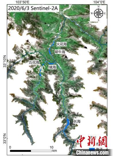 九寨沟核心区水体分布图。中科院空天院付碧宏研究员团队 供图