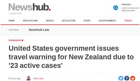 """病例超480万,美国还对新西兰发布""""旅行警告""""……"""