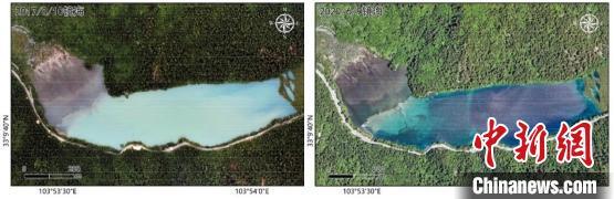 镜海的水体影像对比:地震刚发生后(2017年8月10日,左);地震近三年后(2020年6月9日,右)。中科院空天院付碧宏研究员团队 供图