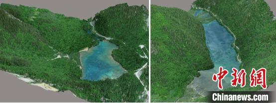 三维高精度建模立体呈现五花海(左)和镜海(右)地貌景观。中科院空天院付碧宏研究员团队 供图