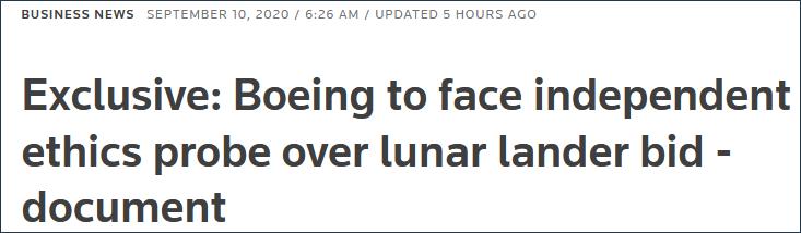 波音公司又被查了 这次因月球登陆器