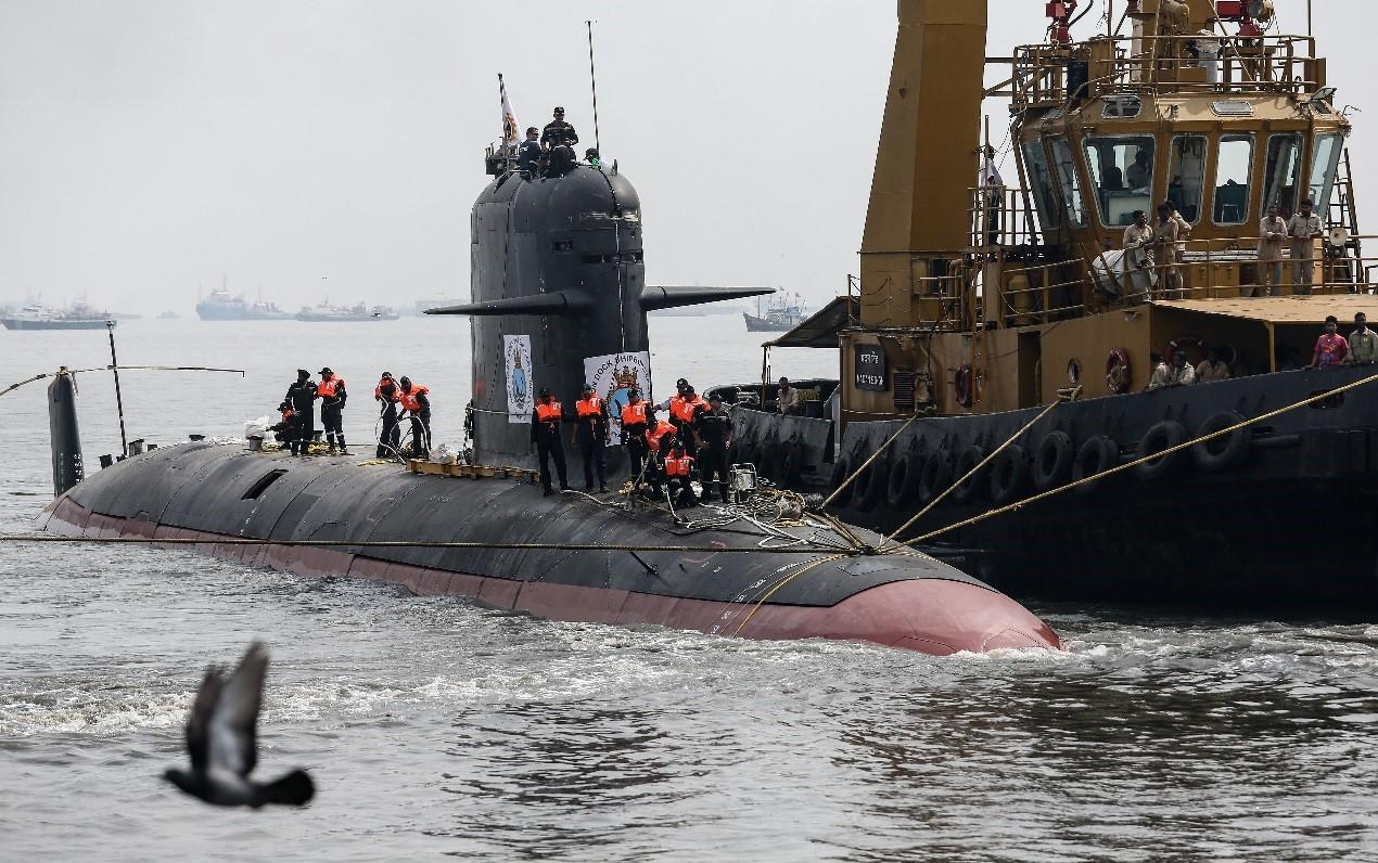 """印度建造的""""鲉鱼""""级通例潜艇。"""