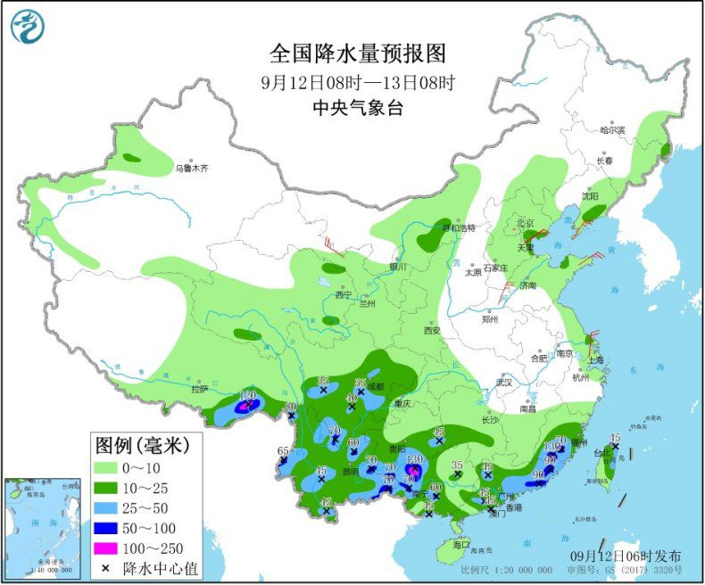 全国降水量预报图(9月12日08时-13日08时) 图片来源:中央气象台网站