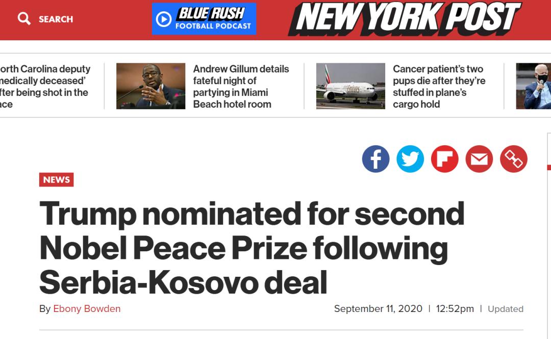 《纽约邮报》:特朗普因调解塞尔维亚与科索沃达成协议获得今年第二次诺贝尔和平奖提名