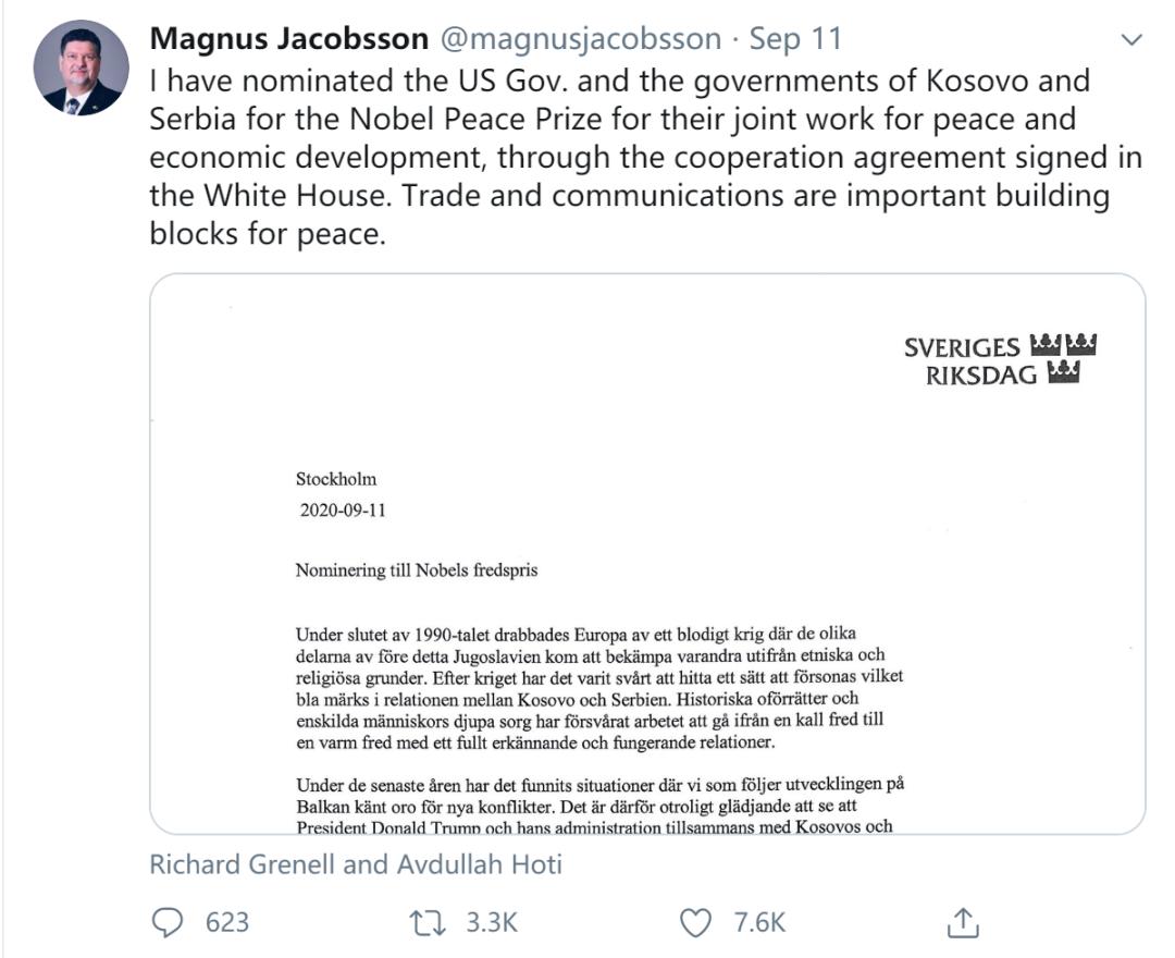 瑞典议会议员马格努斯·雅各布森推特截图