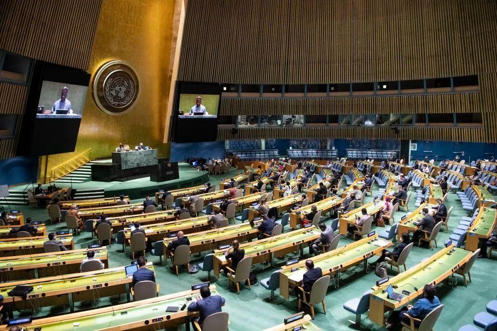▲资料图片:这是9月11日在位于纽约的联合国总部拍摄的联合国大会全体会议现场。(新华社发)
