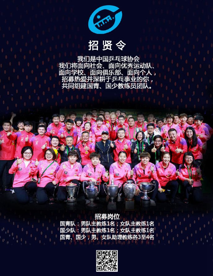 中国乒协招贤纳士,向社会公开招募国青国少教练团队