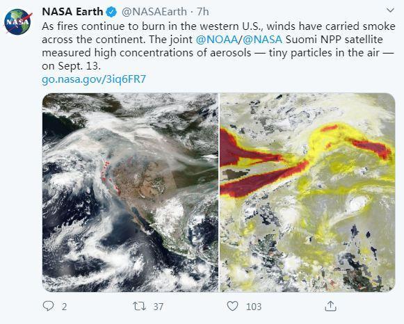 当地时间9月13日,NASA公布了美国西部山火的卫星图像。在风力作用下,大火燃烧产生的烟雾席卷了整个大陆。图片来源:NASA Earth