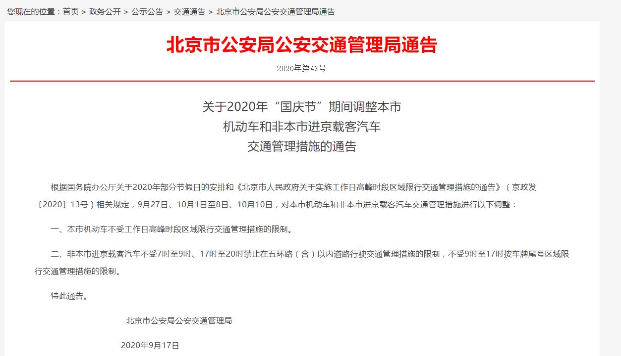 北京在国庆假期前后限行吗