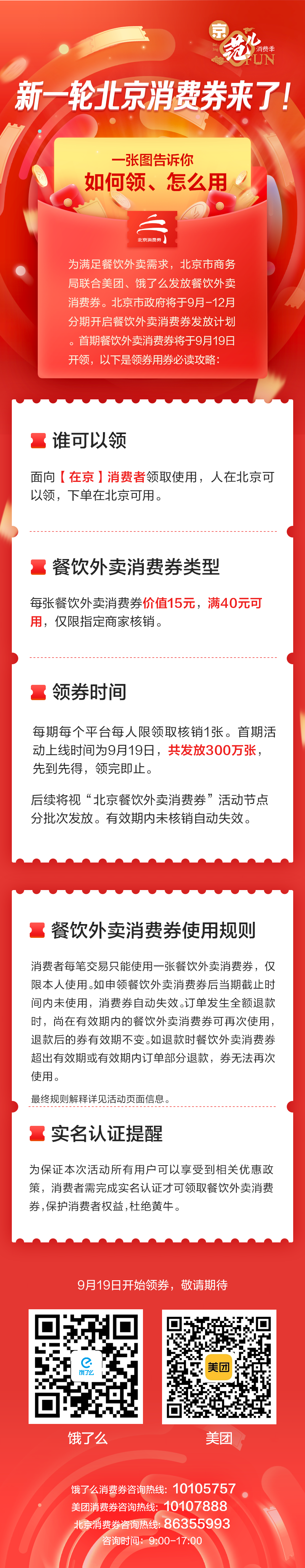 北京餐飲外賣消費券來了,今天10點發首批300萬張圖片