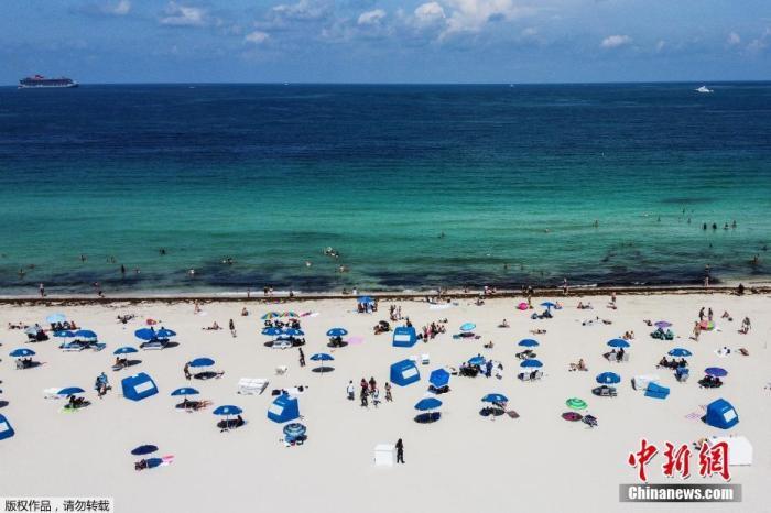 原料图:当地时间6月10日,佛罗里达州迈阿密海滩关闭近三个月后始次盛开。