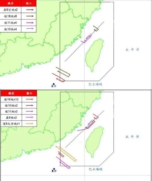 ▲台防务部门公布的18、19两天解放军的飞行轨迹图