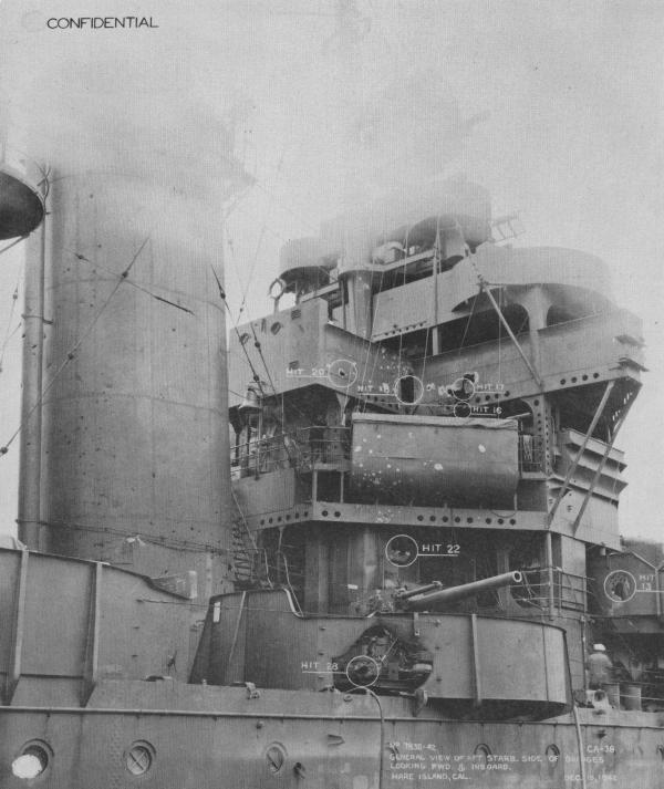 """在瓜岛海战中,""""旧金山""""号尽管英勇作战,但打的是糊涂账,受到惨重打击"""
