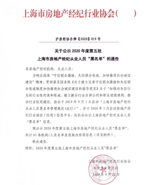 涉私自收取好处、挪用资金等 上海65名房产经纪被禁业5年