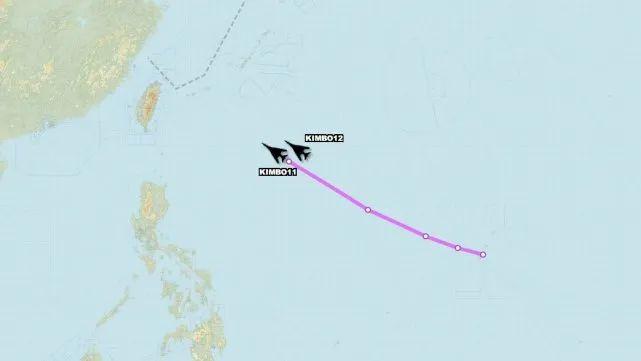 两架B1B轰炸机的飞行线路图