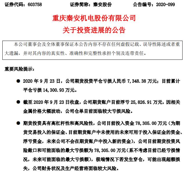 秦安平仓又亏了 期货账户累计浮亏近2.6亿!网友:就怕套保变投机