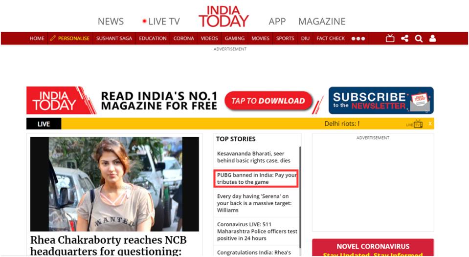 《今日印度》网站首页截图