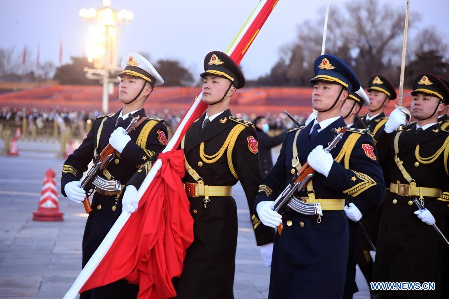 A grand national flag-raising ceremony is held as part of the celebrations for the New Year's Day at the Tian'anmen Square in Beijing, capital of China, Jan. 1, 2021. (Xinhua/Ren Chao)