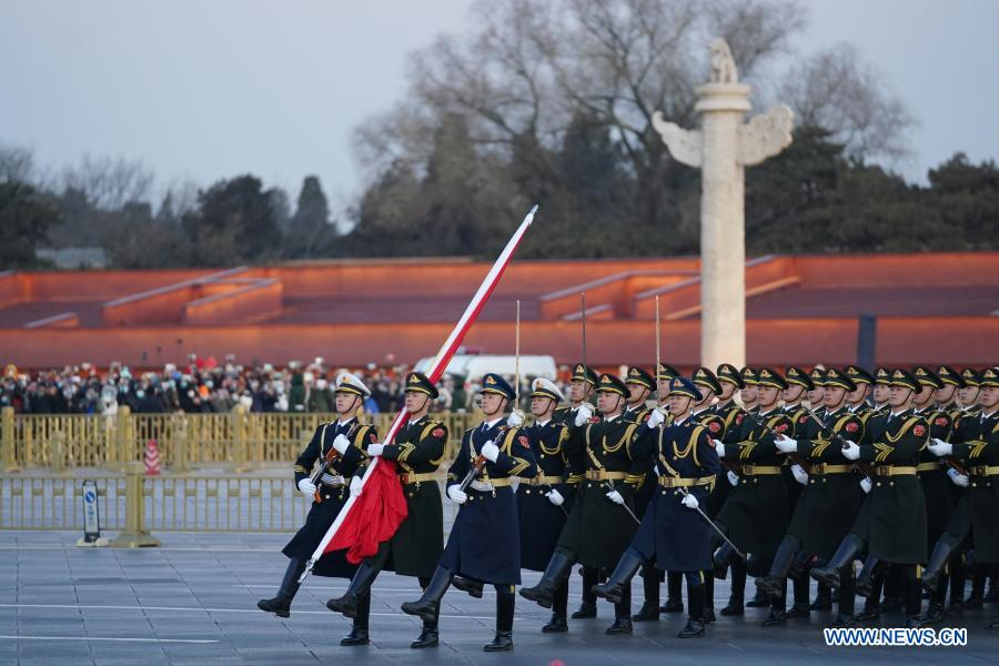 A grand national flag-raising ceremony is held as part of the celebrations for the New Year's Day at the Tian'anmen Square in Beijing, capital of China, Jan. 1, 2021. (Xinhua/Ju Huanzong)