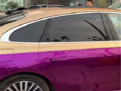 """格外显眼的红旗H9,全车龙胆紫双拼色,还是台""""顶配""""的"""