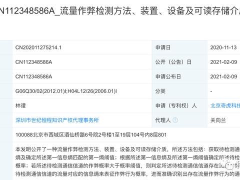 奇虎360公开流量作弊检测方法及装置专利