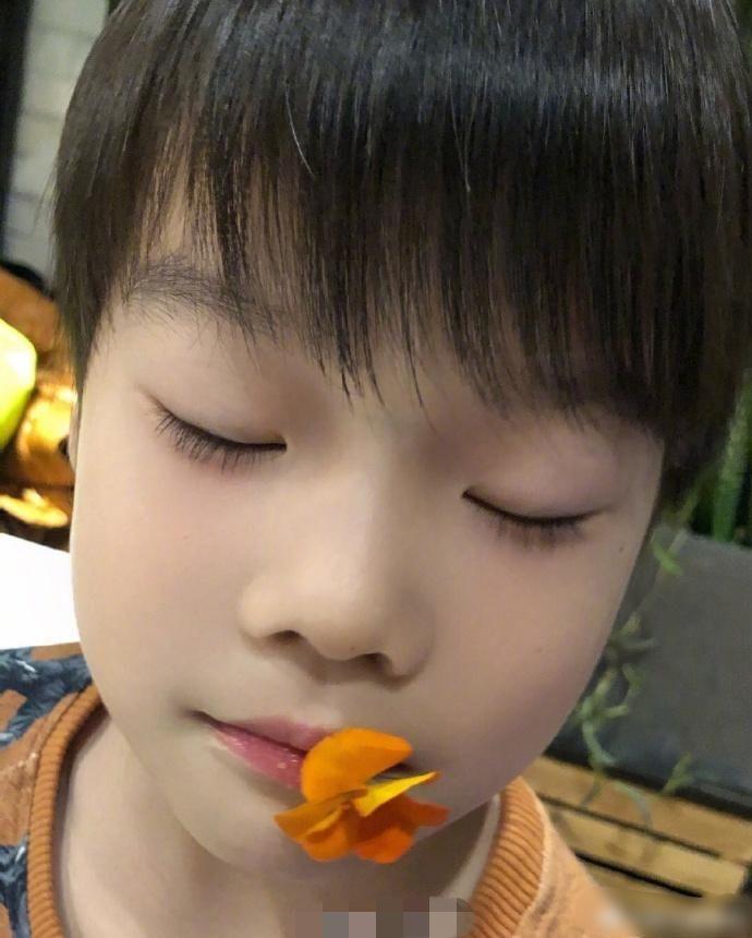 谢楠晒6岁吴所谓近照,长相帅气硬汉感十足,妈妈的外表!