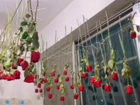 山东一父亲把女儿订婚时99朵玫瑰风干,网友:别人的父亲