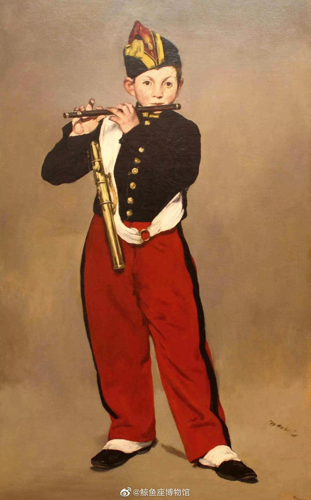 《吹笛少年》,马奈 布面油画 画面没有阴影,没有视平线……