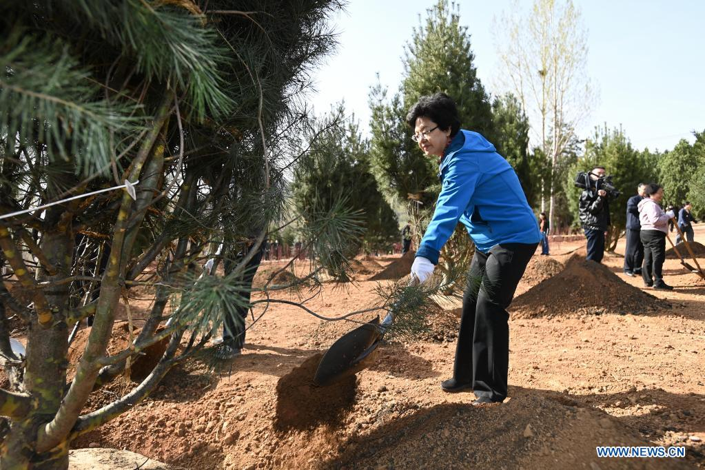 Li Bin, vice chairperson of the National Committee of the Chinese People's Political Consultative Conference (CPPCC), plants a tree during a voluntary tree-planting activity at the Xishan National Forest Park in Haidian District of Beijing, capital of China, March 30, 2021. Chinese political advisors on Tuesday attended a voluntary tree-planting activity in Beijing. The event was attended by vice chairpersons of the CPPCC National Committee and more than 100 staff members of the working organs of the CPPCC National Committee. (Xinhua/Li Xiang)