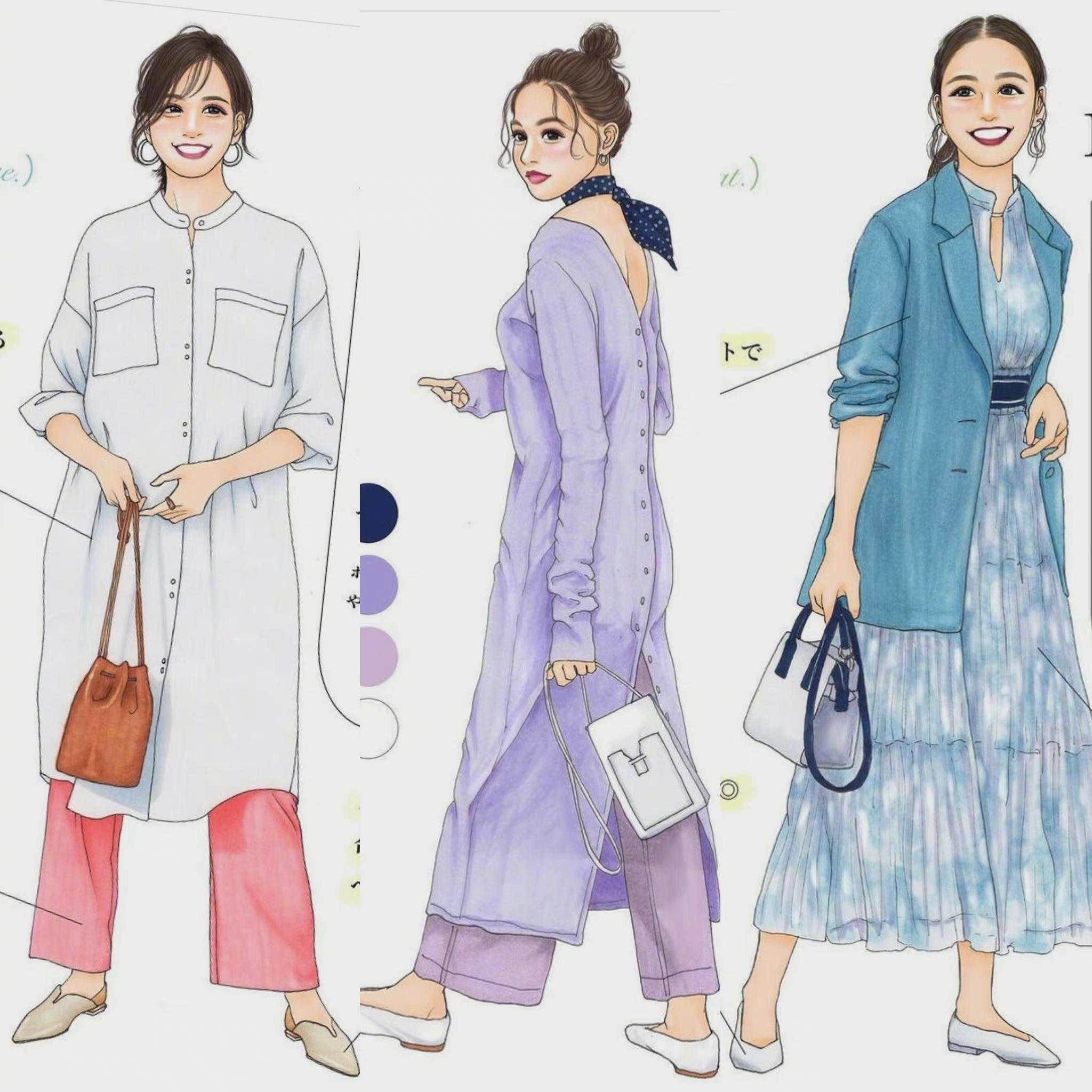 日本插画师momo 36套手绘穿搭范本合集