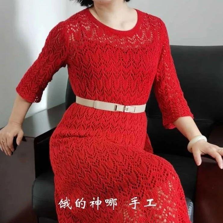 斗鸡眼系列大红女士蕾丝连衣裙(有编织图解)