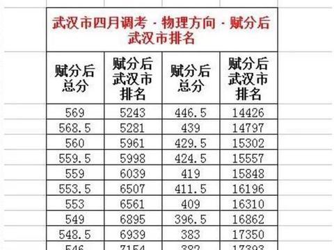 2021年武汉市高三年级四调:物理组赋分后分段表(部分)出炉!
