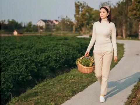 刘芳菲不愧是央视主持人,米色毛衣搭杏色裤子,简约而淡雅
