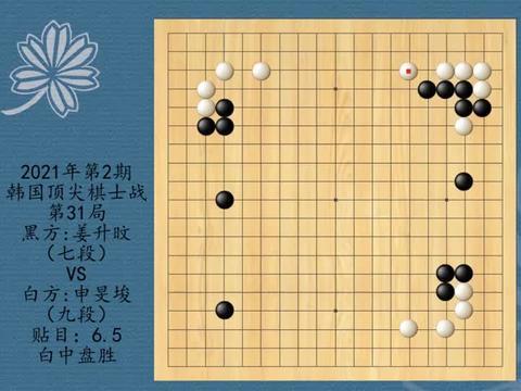 2021年第2期韩国顶尖棋士战第31局,姜升旼VS申旻埈,白中盘胜
