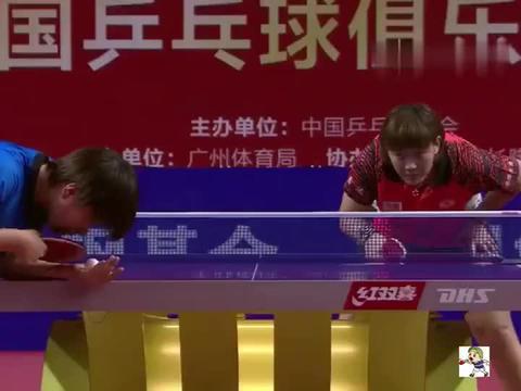 孙铭阳反手生胶有两下,正反手直线调动王艺迪
