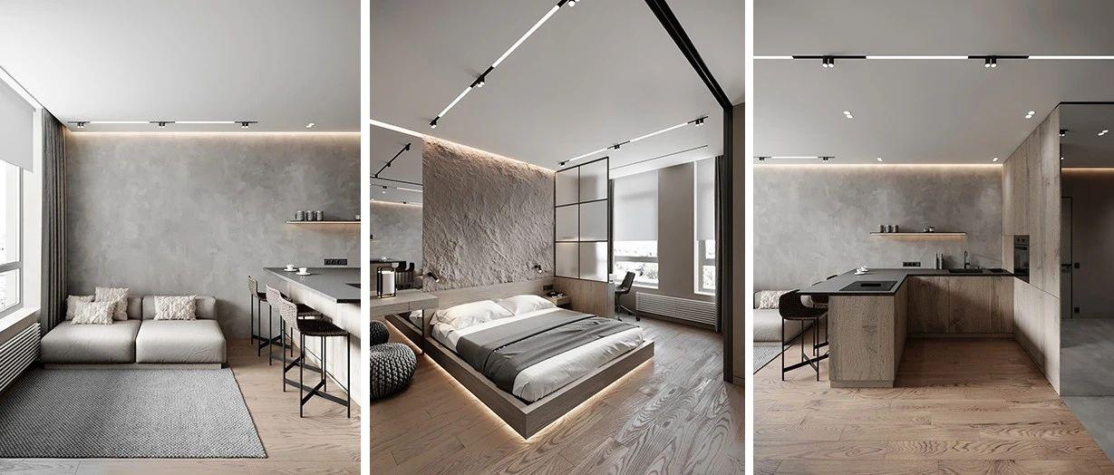高级灰一居室,把墙拆了做玻璃门,空间更通透!