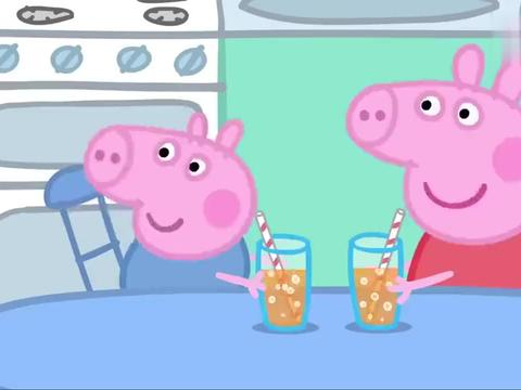 小猪佩奇:佩奇太糟蹋食物了,拿橙汁吹泡泡,真浪费