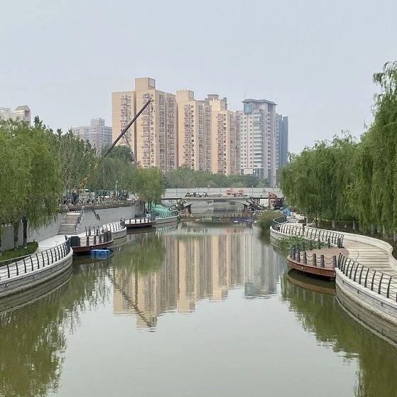"""北京亮马河燕莎桥至朝阳公园段进入""""通航""""倒计时"""