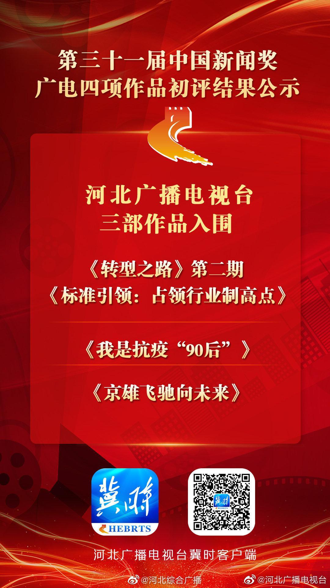 第三十一届中国新闻奖广电四项作品初评结果公示 河北广播电视台三部作品入围