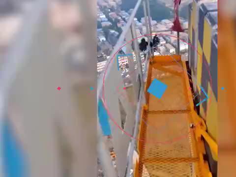 喜鹊头被卡高空吊机缝隙里 幸遇司机师傅将它救下
