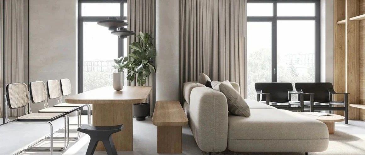 90㎡ 巧做二居室,混凝土+木饰面超有范