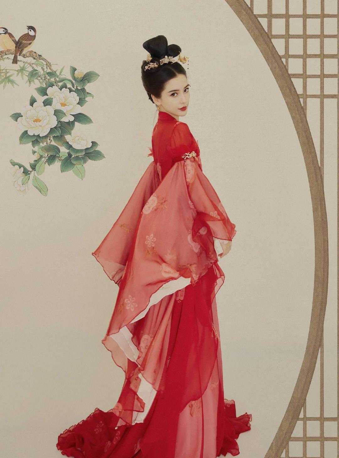 angelababy红衣惊艳古装造型照片 杨颖金簪红衣造型美吗?