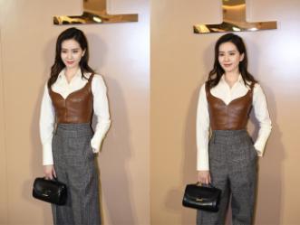 刘诗诗穿黄衬衫配阔腿裤亮相,随意的穿搭也超时髦,气质大气优雅