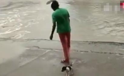黑人大姐在河边遛狗,游过来一条鳄鱼,结果大姐的动作真是绝