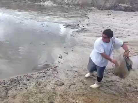 池塘里黑压压一片,小伙一网子下去,水面瞬间沸腾起来