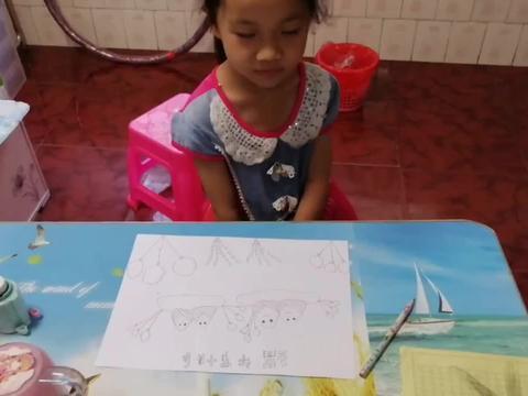 端午节8岁女儿想吃粽子,画了4个粽子,每人一个,暖心