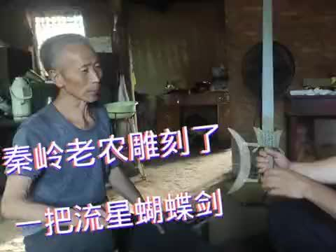 秦岭终南山老农,自己设计雕刻了一把流星蝴蝶剑,取名九天飞蝶剑