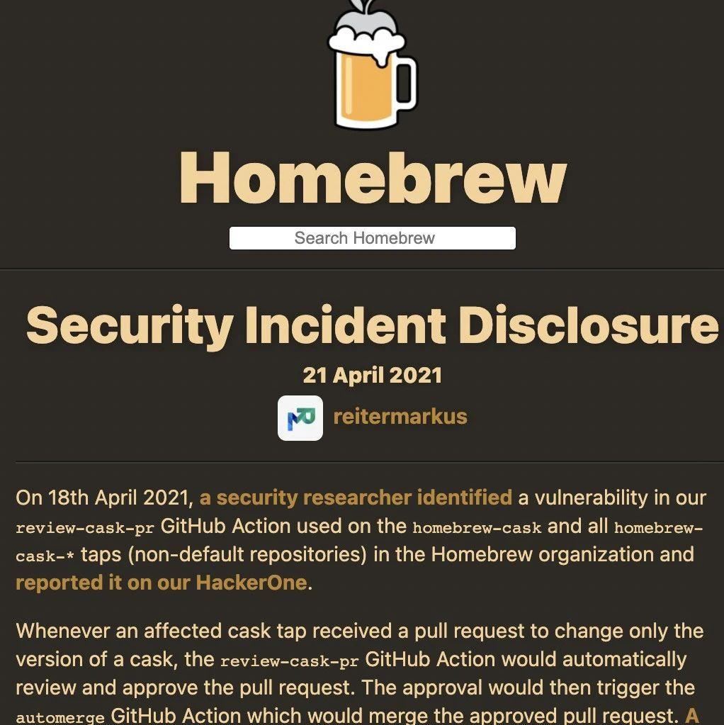 Homebrew存在大漏洞,恶意代码远程操纵电脑! 网友:这不是单方面的责任