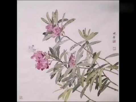国画名家张晓华-配乐-冯文运-(淡淡的想你)